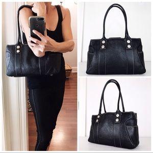 MK Black Pebble Leather Satchel Shoulder Bag